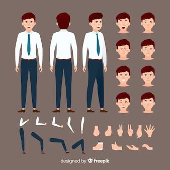 Muestra personaje hombre de negocios dibujos animados