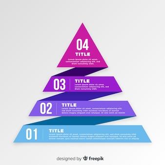 Muestra pirámide infografía por pasos plana