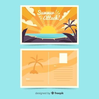 Muestra postal vacaciones de verano puesta de sol dibujada a mano