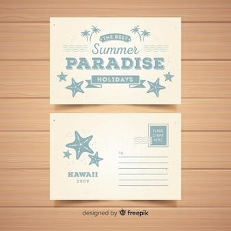 Muestra postal vintage verano dibujada a mano