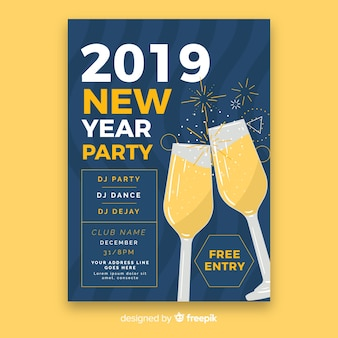 Muestra póster año nuevo brindis