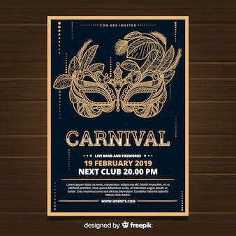 Muestra póster carnaval máscara dorada