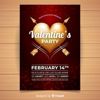 Muestra póster corazón dorado fiesta san valentín