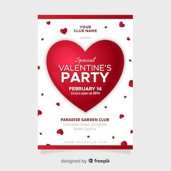 Muestra póster corazón grande fiesta san valentín
