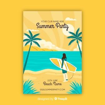 Muestra póster dibujado a mano fiesta de verano