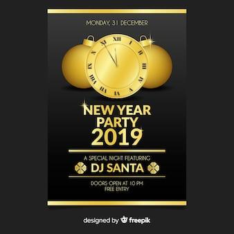 Muestra póster fiesta año nuevo reloj dorado