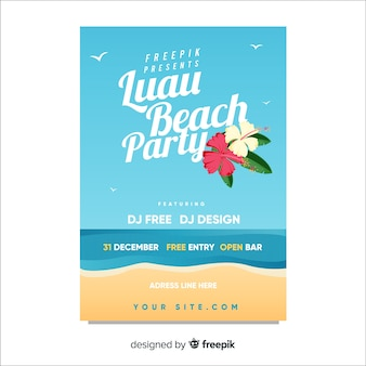 Muestra póster orilla playa fiesta luau