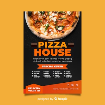 Muestra póster pizza fotográfico