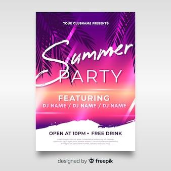 Muestra poster realista fiesta de verano
