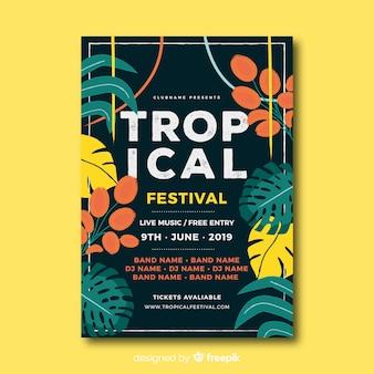 Muestra póster tropical vintage festival de música