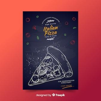 Muestra póster trozo pizza dibujado a mano
