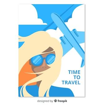 Muestra póster de viaje plano vintage
