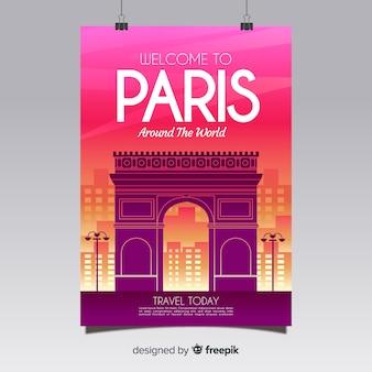 Muestra póster viaje silueta ciudad