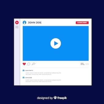 Muestra reproductor multimedia plano redes sociales