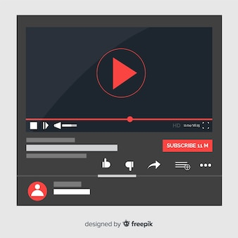 Muestra reproductor multimedia plano