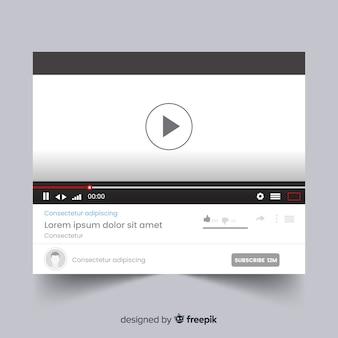 Muestra reproductor multimedia redes sociales plano