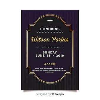 Muestra tarjeta funeral detalles dorados