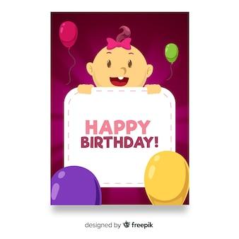Muestra tarjeta primer cumpleaños bebé niña asomándose