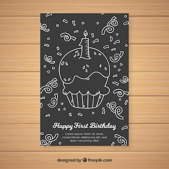 Muestra tarjeta primer cumpleaños cupcake pizarra