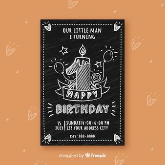 Muestra tarjeta primer cumpleaños efecto pizarra