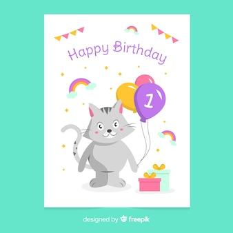 Muestra tarjeta primer cumpleaños gato globos