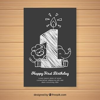 Muestra tarjeta primer cumpleaños número pizarra