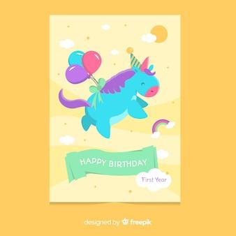 Muestra tarjeta primer cumpleaños unicornio volando