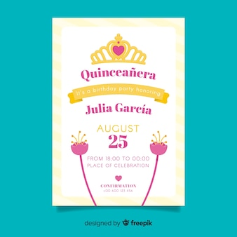 Muestra tarjeta quinceañera flores planas