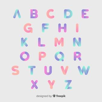 Muestra tipografía alfabeto degradado
