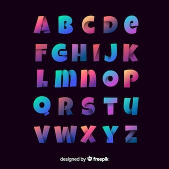 Muestra tipografía degradado colorido