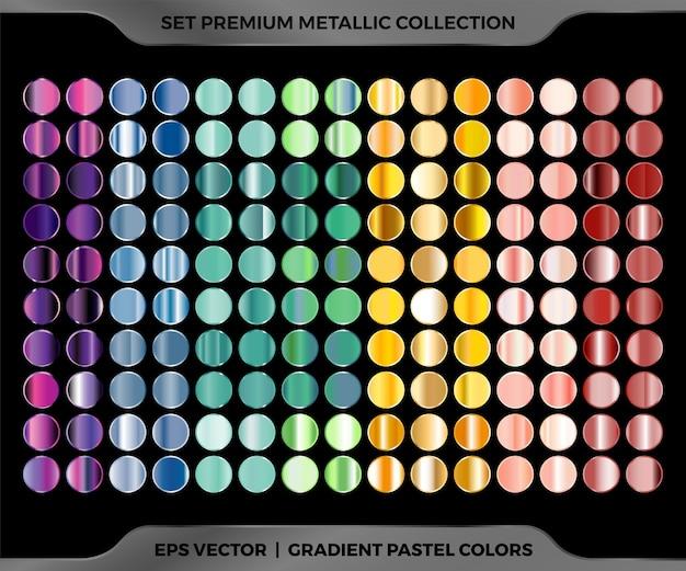 Muestras de colores de moda degradado metálico oro rosa, marrón verde dorado violeta, combinación azul colección mega set