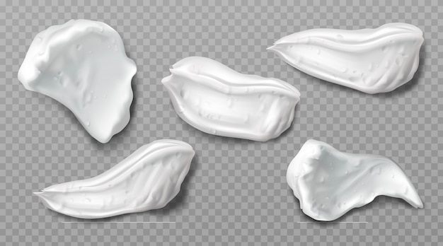 Muestras de crema de espuma cosmética blanca