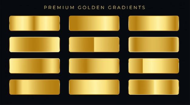 Muestras de gradientes de oro premium conjunto
