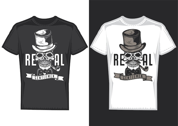 Muestras de diseño de camiseta con ilustración de una calavera de caballero con sombrero.