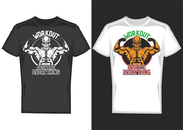 Muestras de diseño de camiseta con ilustración de una calavera con grandes músculos.
