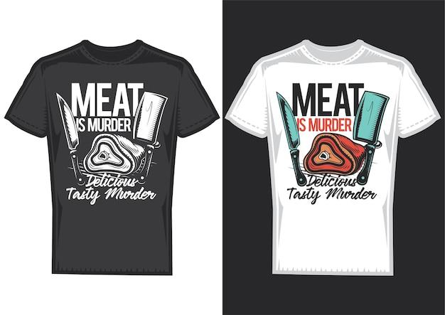 Muestras de diseño de camiseta con ilustración de carne y cuchillos.