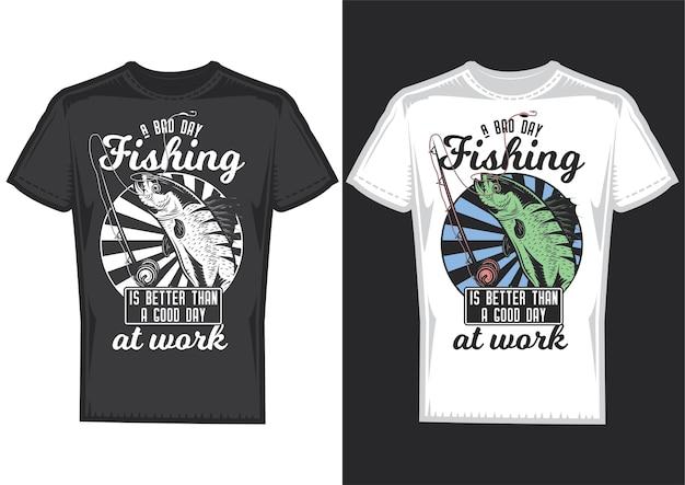 Muestras de diseño de camiseta con ilustración de un pez y una caña de pescar.