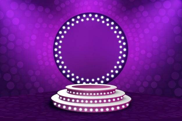 Muestre el fondo púrpura claro del podio.