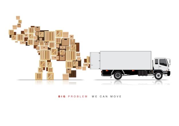 Mueva la caja por camión