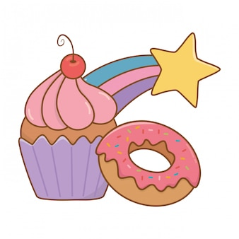 Muffin con donut y estrella fugaz.