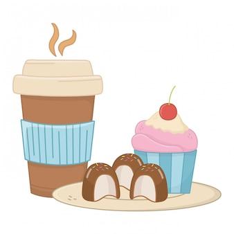 Muffin dulce y café