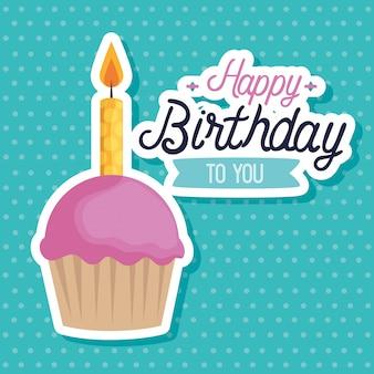 Muffin dulce con velas tarjeta de felicitación