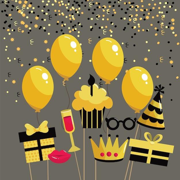 Muffin con vela y globos para feliz cumpleaños.