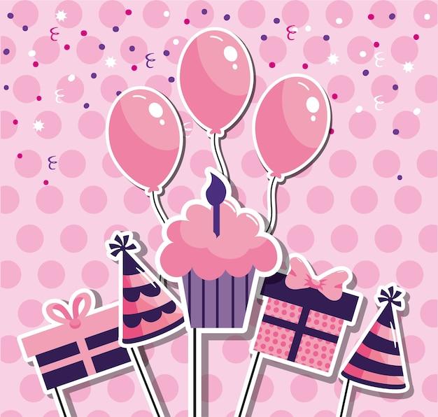 Muffin con velas decorado para feliz cumpleaños.
