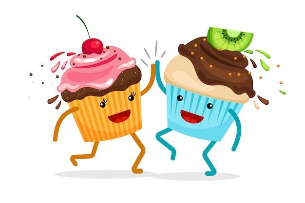 Muffins de dibujos animados para siempre amigos. cupcakes clap manos ilustración vectorial