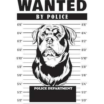 Mugshot de perro rottweiler sosteniendo pancarta tras las rejas