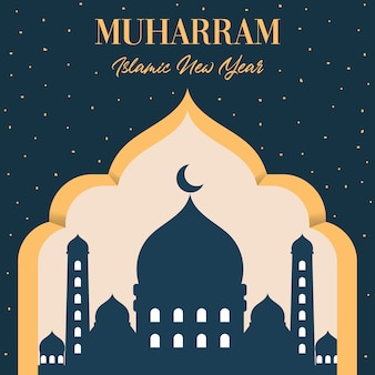 Muharram de año nuevo islámico con ilustración de mezquita plana