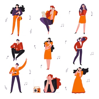 Muic escuchando, personas con reproductor, gadget o radio, personajes