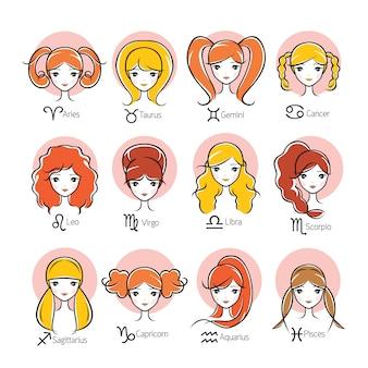 Mujer con 12 signos astrológicos del zodíaco