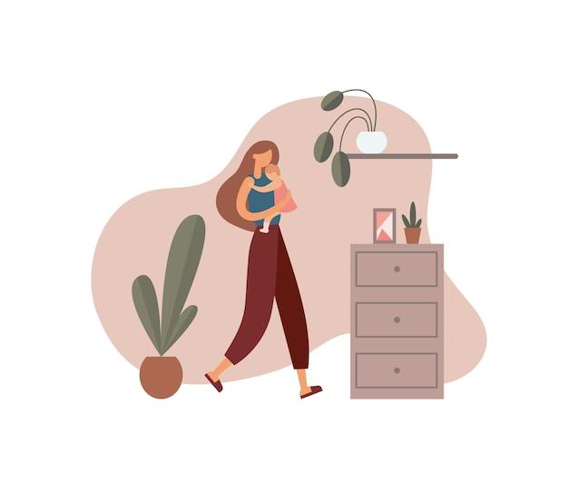 Mujer abrazando bebé en casa. ilustración